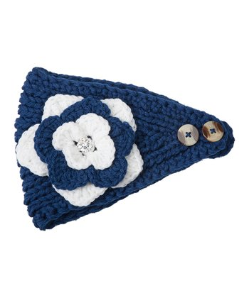 Navy & White Flower Head Wrap