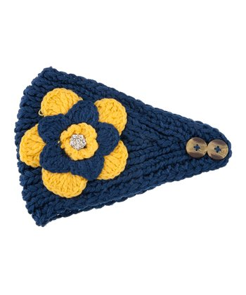 Navy & Yellow Flower Head Wrap