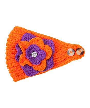 Orange & Purple Flower Head Wrap