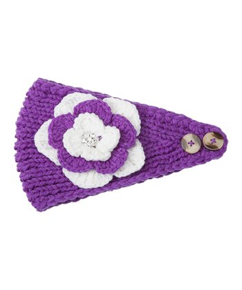Purple & White Flower Head Wrap