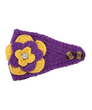 Purple & Yellow Flower Head Wrap