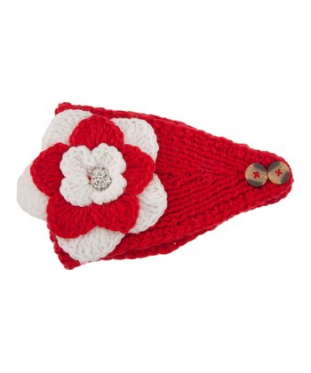 Red & White Flower Head Wrap
