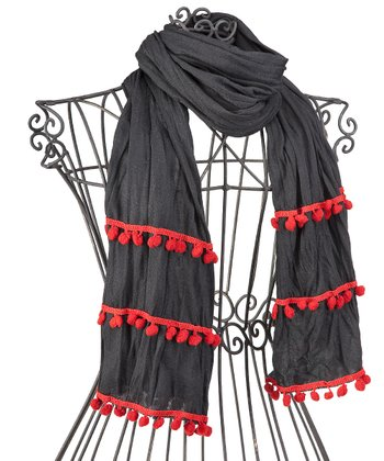 Black & Red Pom-Pom Scarf