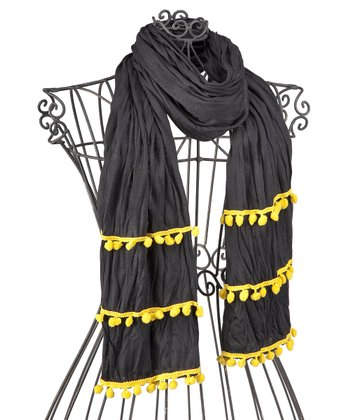 Black & Yellow Pom-Pom Scarf