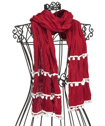 Dark Red & White Pom-Pom Scarf