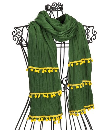 Green & Yellow Pom-Pom Scarf