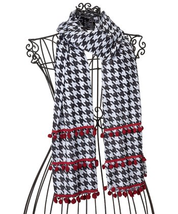 Black & Red Houndstooth Pom-Pom Scarf