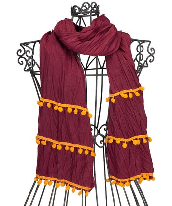 Maroon & Orange Pom-Pom Scarf