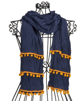 Navy & Orange Pom-Pom Scarf