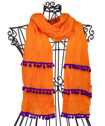 Orange & Purple Pom-Pom Scarf