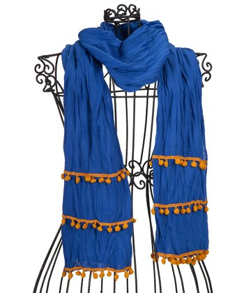 Royal Blue & Orange Pom-Pom Scarf