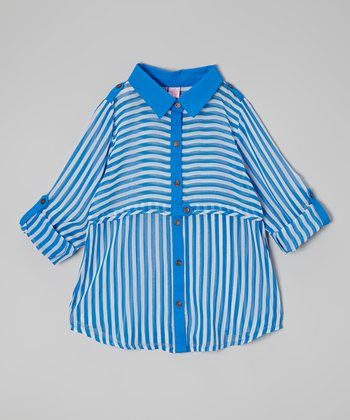 Blue Stripe Button-Up - Girls