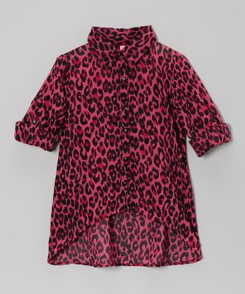 Fuchsia Lace Leopard Button-Up - Toddler & Girls