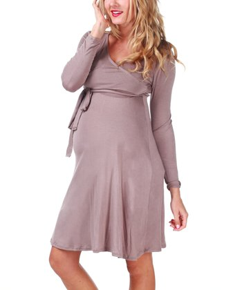 Mocha Tie Maternity & Nursing Dress