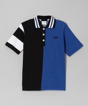 Royal Blue & Black Color Block Polo - Boys