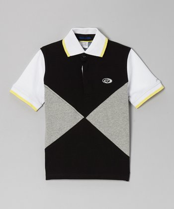 Gray & Black Color Block Polo - Boys