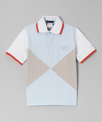 Light Blue & Light Gray Color Block Polo - Boys