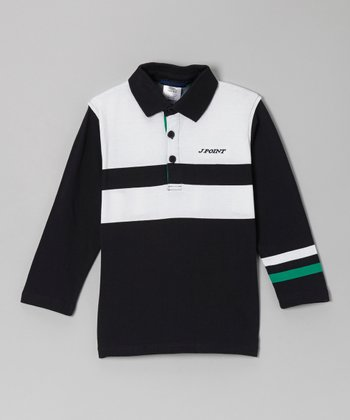 Navy & White Long-Sleeve Polo - Toddler & Boys