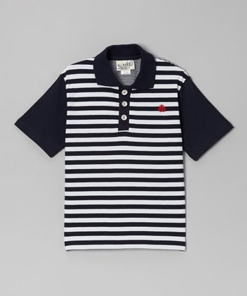 Navy & White Stripe Polo - Toddler & Boys
