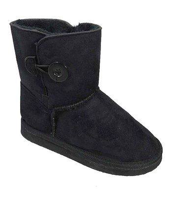 Black Button Suede Boot