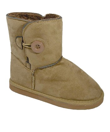 Camel Button Suede Boot