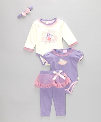 Pink & Purple Ballerina Bodysuit Set - Infant