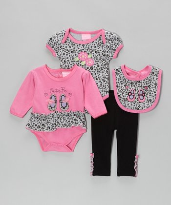 Pink & Black Leopard 'Cutie Pie' Bodysuit Set - Infant