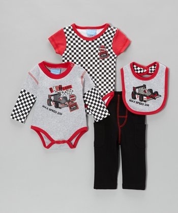 Red & Gray 'Max Speed 250' Bodysuit Set - Infant