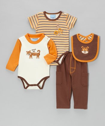 Orange & Brown 'Hear Me' Big Cat Bodysuit Set - Infant