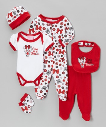 Red & White 'Cute as a Button' Six-Piece Layette Set