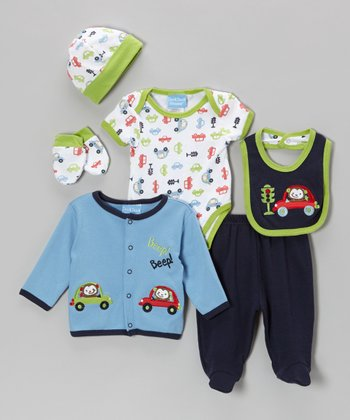 Green & Blue 'Beep! Beep!' Six-Piece Layette Set - Infant