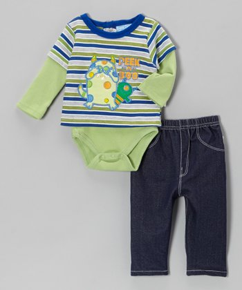 Green Stripe 'Peek-a-Boo' Layered Bodysuit & Pants - Infant