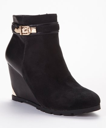 Black Getaway Wedge Ankle Boot