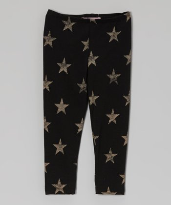 Black & Cream Star Leggings - Toddler