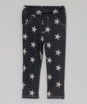 Navy & Cream Star Jeggings - Toddler