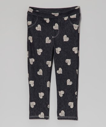 Charcoal & White Heart Jeggings - Toddler
