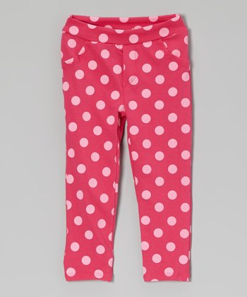 Pink Polka Dot Jeggings - Toddler
