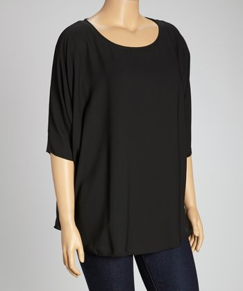 Black Cutout Back Dolman Top - Plus