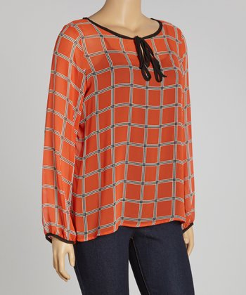 Orange & White Lattice Sheer Top - Plus