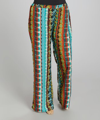 Blue & Red Tribal Palazzo Pants - Plus