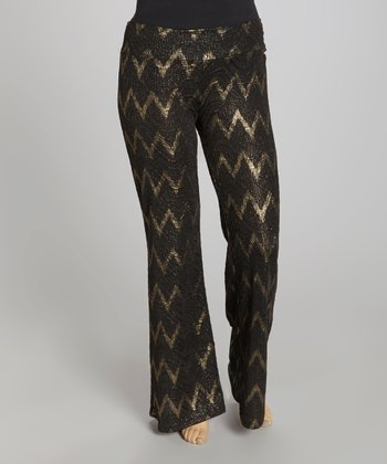 Black & Gold Zigzag Palazzo Pants - Plus