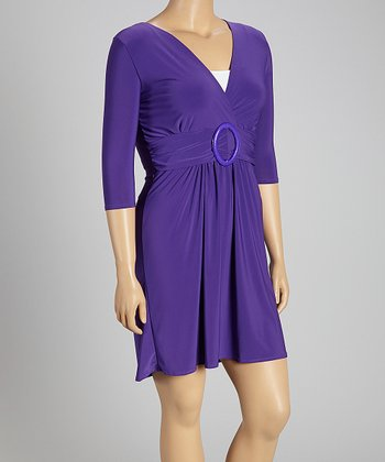 Purple Buckle Three-Quarter Sleeve Dress - Plus