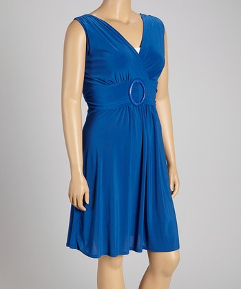 Royal Plus-Size Surplice Dress - Plus