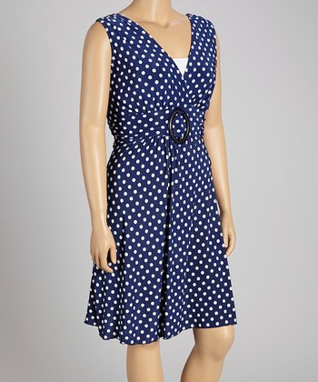 Navy Polka Dot Ring Dress - Plus