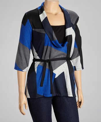 Blue & Gray Color Block Cowl Neck Top - Plus