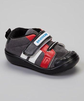 Skidders Black & Red Stripe Casual Sport Gripper Shoe
