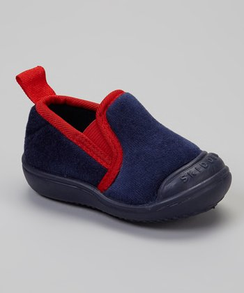 Navy & Red Slip-On Gripper Slipper