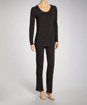 Black Pin Dot Top & Pajama Pants - Women