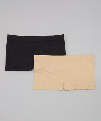 Skin & Black Seamless Boyshorts Set - Women