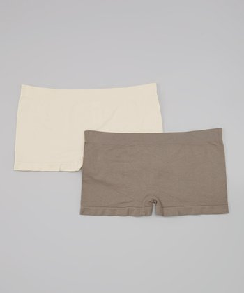 Smokey Topaz & Ivory Seamless Boyshorts Set - Women